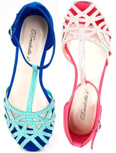 Breckelle's Bling-21 Studded Rhinestone T-Strap Flat Sandals in blue and pink (ZARA Jelly look-a-likes)