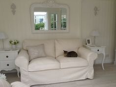 Ikea Ektorp sofa with Isefall cover and Lily Mittens the cat! In the Summerhouse Ektorp Sofa, Garden Studio, Lounge Ideas, Garden Sheds, Mittens, Ikea, Lily, Couch, Cat
