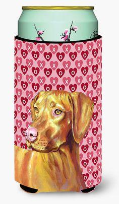 Vizsla Hearts Love and Valentine's Day Portrait Tall Boy Beverage Insulator Beverage Insulator Hugger