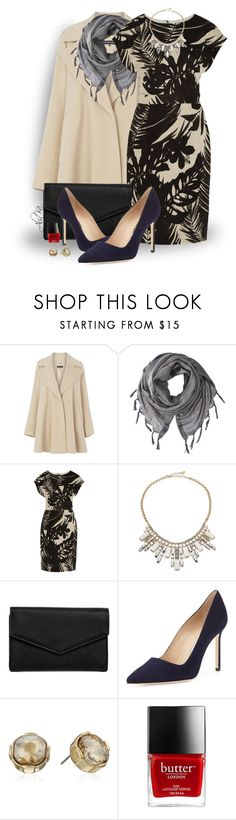"""""""Curtain Call"""" by alinka-happily ❤ liked on Polyvore featuring Warehouse, Love Quotes Scarves, J.Crew, ABS by Allen Schwartz, LULUS and Manolo Blahnik"""