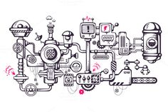 Check out Complicated mechanism at work. by wowomnom on Creative Market