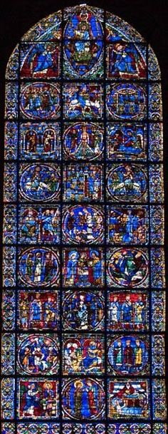 Chartres Cathedral - Tree of Jesse window, so many stories from the Bible depicted in these windows!