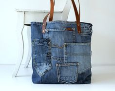 denim canvas tote bag with lots of pockets - jeans bag - recycled - leather straps- shopping bag- shoulder bag