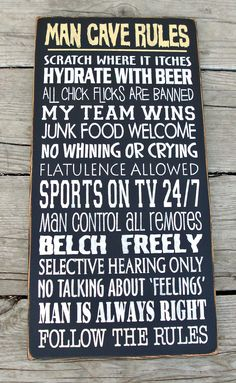 Large Wood Sign Man Cave Rules.