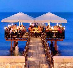 Restaurant into the sea Corfu island, Greece