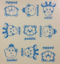 Love these graphics at my kid's swim class. The represent the things they teach kids; monkey cheeks, giraffe neck and tiger paddle.