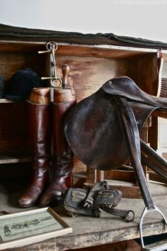 Weathered equestrian style. These accoutrements have not seen action in awhile.