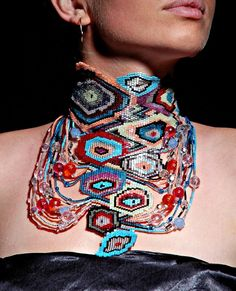 .Tamuna Lezhava Russian bead artist.  This is a very unusual freeform necklace which I like very much!  Curleytop1.