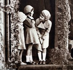This photograph shows a young Princess Elizabeth, Princess Margaret and their cousin Marga...