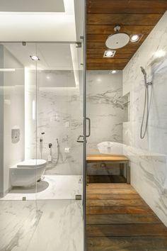 baño marmol y madera lassala-orozco-casa-lr-302-guadalajara-mexico- #wood #bath #marble . Ducha de madera . Baño de marmol