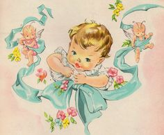 Vintage Image Retro Baby Head And Ribbon With Angels Waterslide Decals Retro Baby, Images Vintage, Vintage Pictures, Vintage Greeting Cards, Vintage Postcards, Vintage Books, Art Altéré, Baby Illustration, Image Originale