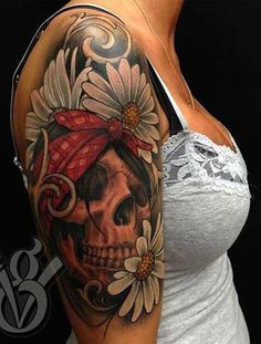 Feminine sugar skull tattoo - This is one unique sugar skull tattoo since it's got a head band and used daisies as the flower. #TattooModels #tattoo
