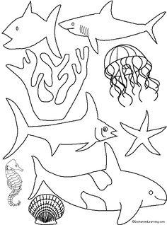 Aquarium Paper Plate Diorama Craft Template - EnchantedLearning.com