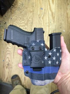 Glock 19 Wolf Pack AIWB holster in thin blue line infused kydex. Save those thumbs & bucks w/ free shipping on this magloader I purchased mine http://www.amazon.com/shops/raeind  No more leaving the last round out because it is too hard to get in. And you will load them faster and easier, to maximize your shooting enjoyment.  loader does it all easily, painlessly, and perfectly reliably