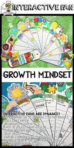 GROWTH MINDSET ACTIVITY, REFLECTION, SETTING GOALS, INTERACTIVE FAN | All subjects | middle school | high school | upper elementary | This new Growth Mindset learning tool is so much fun and loaded with visuals to boost your Growth Mindset teaching lessons. Teachers will build their students' confidence one interactive fan at a time. In every interactive fan, you'll find a variety of fill-ins ready for students to complete guided notes, concepts, definitions, characters, notable people…