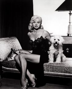 1940s/1950s glamour girl Diana Dors with her cute little doggie