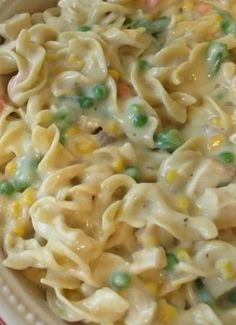 Chicken Noodle Casserole| Note: Uses cream of chicken and cream of mushroom condensed soups. | The Taylor House #recipes Recipes
