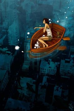 Captivating art, is she floating on clear water over a submerged, bombed out city?  Maybe.