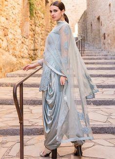 Dusty Blue Grey Embroidered Punjabi Suit features a net kameez with santoon inner, net + santoon bottom and net dupatta. Dhoti Salwar Suits, Patiala Dress, Punjabi Suits, Anarkali Suits, Salwar Kameez, Salwar Designs, Lehenga Designs, Indian Fashion Dresses, Pakistani Dresses