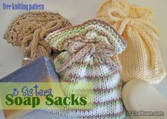 Free Knitting Patterns - 3 Sisters Soap Sacks. Our new pattern set includes 3 different soap sacks to knit. #knitting #craftown