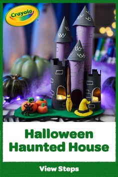 Frighteningly fun, this Haunted House craft creates a DIY Halloween decoration that towers above the rest! Halloween Arts And Crafts, Halloween Activities, Diy Halloween Decorations, Holiday Crafts, Craft Projects For Kids, Arts And Crafts Projects, Home Crafts, Crafts For Kids, Halloween Haunted Houses