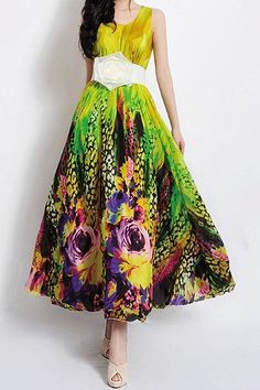 Printed Scoop Neck Sleeveless Casual Maxi Dress For Women