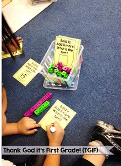 """Snag this addition freebie! """"Build it"""" cards have students practicing addition within 20 and showing their answers."""