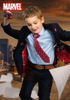 (affiliate link) KIDS SPIDER-MAN SUIT (SECRET IDENTITY) - NAVY BLUE Spidey Sense (of Style).  Science wiz by day, fast talking Web Slinger by night, mild-mannered Peter Parker needs to swap from normal kid to superhero extraordinaire in the blink of an eye. That's a task this exclusive Secret Identity Spider-Man suit for kids does with flawless style.