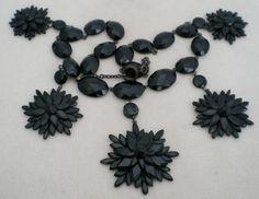 victorian jet snowflake necklace