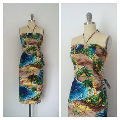 RARE 40s Rayon Hawaiian Dress / 1940s Vintage VLV Land of Hawaii Hawaiian Dress / Medium / Size 6 - 8 on Etsy, $300.00