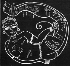 The Lord of Time - Kala Purusha. Illustration from astrological manuscript. India. Gujarat. The Gujaratians.