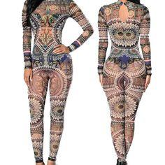 XXXL Plus Size Women Tribal Tattoo Print Mesh Jumpsuit Romper Curvy African  Aztec Bodysuit Celebrity Catsuit 39129b9d5ac7