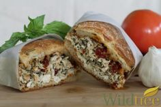 Wildtree's Basil Pesto Chicken Sandwich Recipe We used French Everything Bread, Swiss cheese instead of mozarella, and added a few pieces of spinach.  Delicious!  We'll definitely have these again!  I love the Wildtree Basil Pesto Sauce!
