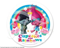Local Edible Cake Images : Trolls Cupcakes & Rainbows PhotoCake  Edible Cake Image, 2 ...