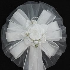 White Rose Organza Flower Wedding Bows                                                                                                                                                                                 More