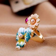 Enamel Flower and Pearl Ring