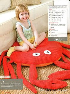 *Free Crochet Pattern: Crochet In Action: The Big Crab: Retro floor cushion gets a modern makeover.