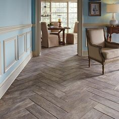 Porcelain tiles that look like wood - herringbone pattern