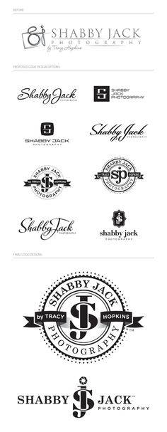 Well this is the exact idea that Joel had.js and wrapping around each other. I'm having a hard time finding fonts that I like the J. I really like the bottom left logo's J. photographer/photography logo design for Shabby Jack Photography Letter Photography, Photography Logo Design, Photography Marketing, Typography Logo, Typography Design, Branding Design, Typography Inspiration, Logo Design Inspiration, Graphic Design Fonts