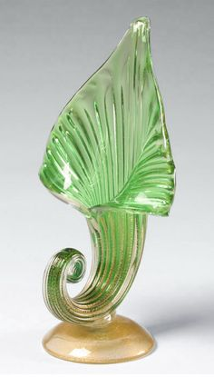 Murano Green Art Glass Jack-in-the-Pulpit