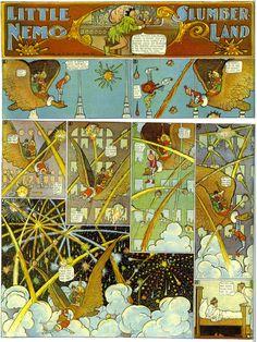 Windsor McCay et son « Little Nemo in Slumberland » (1905). Véritable petite révolution dans le monde de la BD (dans la mise en page, dans la narration, dans les innovations visuelles...), ce chef d'œuvre n'a pas pris une ride,