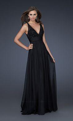 Elegant Black Chiffon Evening Gown at PromGirl.com