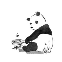 """Talk about panhandling. Part of Pandagrams: Plainly Pandas, a set of five 3"""" x 3"""" cards featuring punny pandas--black & white & fun all over!"""