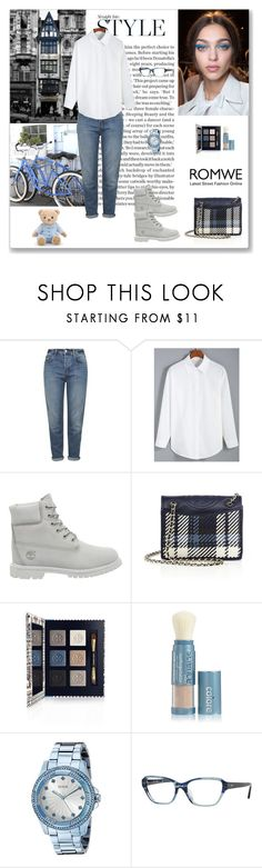 """Romwe White Blouse"" by ludmyla-stoyan ❤ liked on Polyvore featuring Topshop, Timberland, Tory Burch, Colorescience, GUESS, Ray-Ban, white, romwe and blouse"