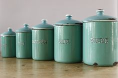 Vintage Enamel Kitchen Cannisters....Duck Egg Blue...Nordic Home....Shabby Chic