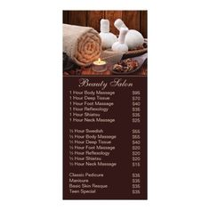 Spa Massage Salon Service Menu With Price List