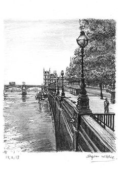 View of Westminster Bridge in summer - drawings and paintings by Stephen Wiltshire MBE
