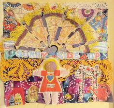 Sun Sunshine Sunny PATCHWORK Folk Art Collage Assemblage - Marimekko Girl - mybonny