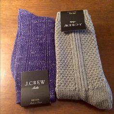 SALEJ.Crew socks 2 pairs Brand new J.Crew socks in grey and aubergine color (with silver sparkles). I'm selling these as a set for $16 or a single pair for $9. If buying just a pair, please make offer for $9 and  indicate preferred color. Thanks! J. Crew Other