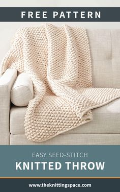 Easy Seed Stitch Knitted Throw [FREE Knitting Pattern] Looking for a quick and . Easy Seed Stitch Knitted Throw [FREE Knitting Pattern] Looking for a quick and easy knitted blanke Easy Knit Blanket, Knitted Baby Blankets, Knitted Throws, Knitted Blankets Pattern Free, Crochet Edges For Blankets, Easy Blanket Knitting Patterns, Cable Knit Blankets, Chunky Knit Throw, Loom Patterns